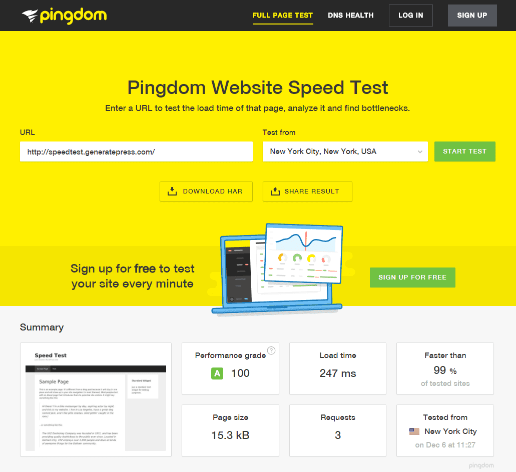 speed test on pingdom of generatepress GeneratePress Black Friday Deal | Get 50% Discount on Renewals [Live Now]